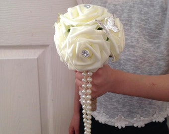 artificial wedding bouquets Brides/bridesmaid Ivory Rose with sparkle