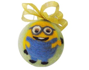 "Handmade Wool Felted Christmas Tree Ornament ""Minions"""