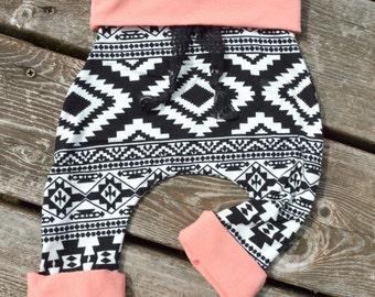 Baby girl aztec harem pants, harem pants, baby pants, baby girl pants,