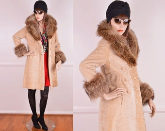 60s/70s Shearling Fur Coat With Fox Fur Collar & Cuffs