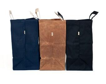 Large Market Bag // Waxed Canvas Bag // Reusable Grocery Bag // Brown Bag // Navy Bag // Black Bag // Natural Bag