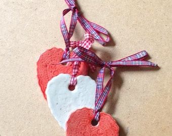 Hearts - set of three hanging decorstions