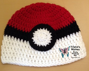 Pokemon Inspired Pokeball Beanie >> Crocheted >> Handmade >> Hat >> Pokeball >> Character Hat >> Winter Hat