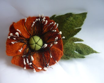 Felt flower poppy brooch