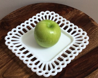 Westmoreland Square Milk Glass Plate, Milk Glass Square Peg Plate, Lace Edge Luncheon Plate, Milk Glass Square Plate