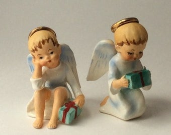 Vintage Boy Angel Figurines, Schmid Bros. Figurine, Christmas Angels with Gifts, Set of Two