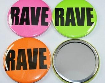 Rave neon 58mm pocket mirror - rave makeup mirror