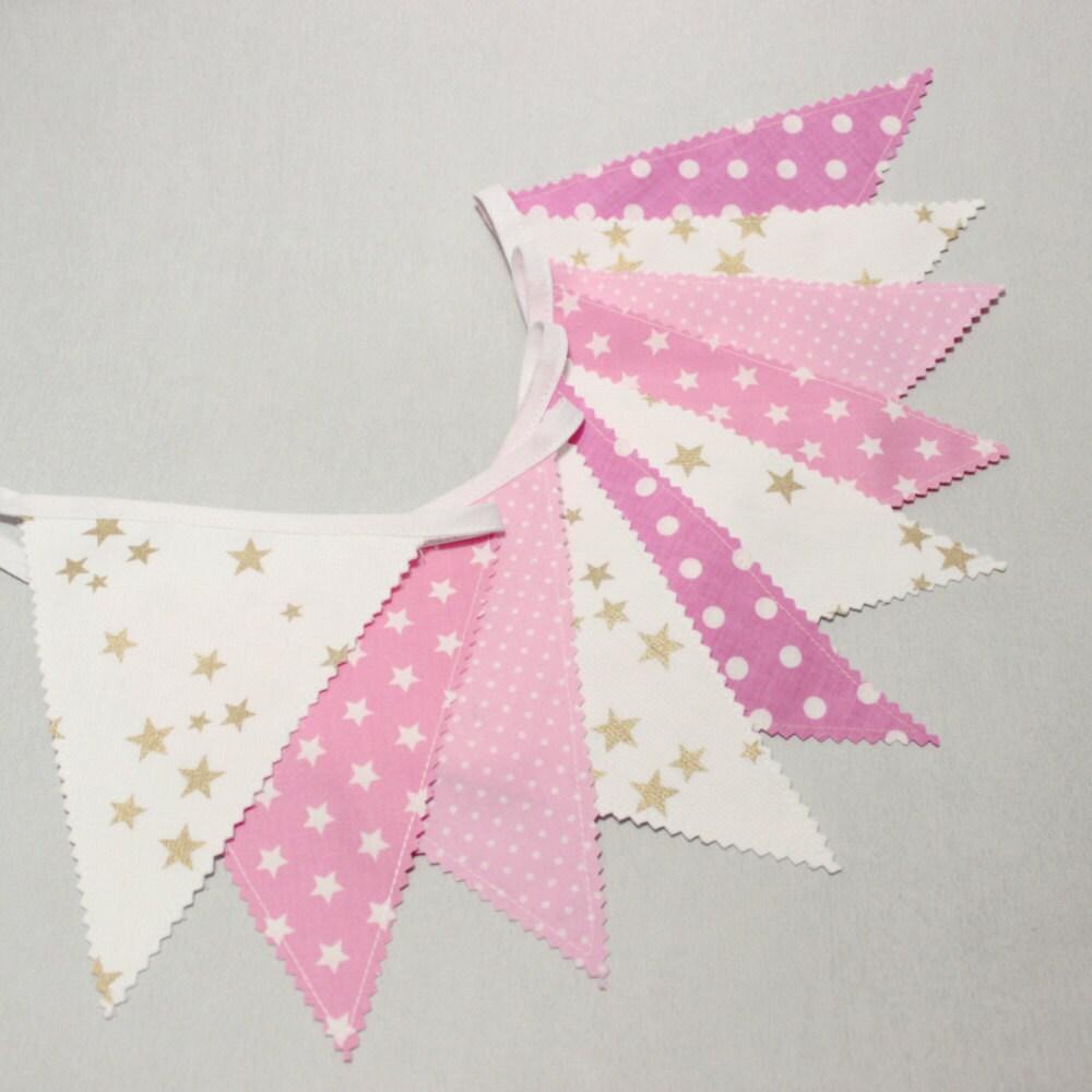 Guirlande fanions banderole tissu or rose deco mariage for Guirlande tissu chambre bebe