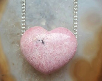 Rhodonite crystal necklace loveheart heart crystal necklace Mothers Day Gift