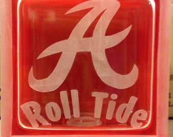 Alabama roll tide glass block
