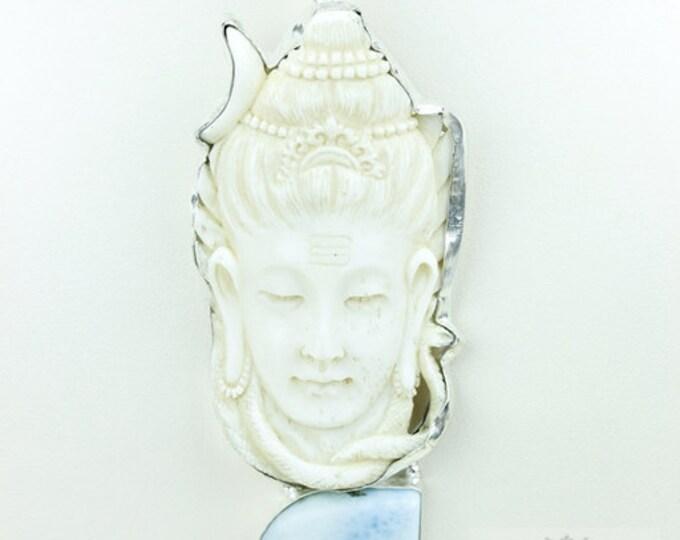 Hindu Deity Shiva DEER ANTLER Native TOTEM Goddess Face Moon Face Bone Carving 925 S0LID Sterling Silver Pendant + 4MM Chain p3829