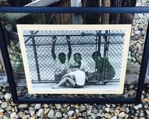 """SALE 20"""" x 14"""" Original Black & White Segregation Photo Of Young Boys 1940's Black Americana With Or Without Frame"""
