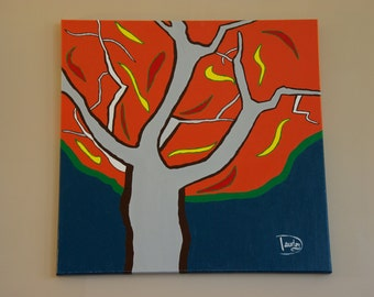 """Original painting - """"Artificial tree"""" - Unique acrylic paint on canvas artwork representing a tree during fall season"""