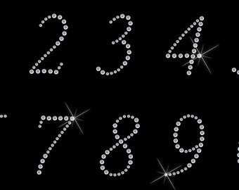 Numbers Hot Fix Iron On Rhinestone Transfer   applique  1 sheet