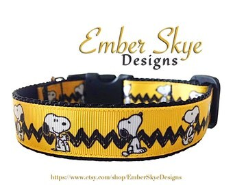 "Yellow Snoopy, Charlie Brown, The Peanuts Adjustable Dog Collar - 1"" or 3/4"" Width"