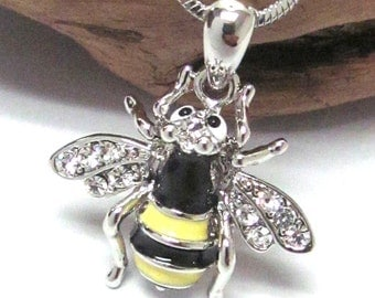 Crystal White Gold Plating Bumble Bee Honey Necklace with Gift Box
