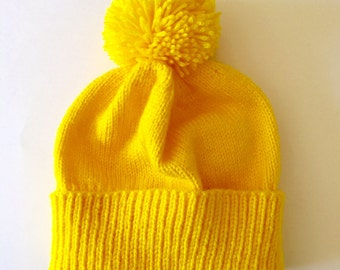 Yellow knitted hat - adult hat - custom hat - yellow pom-pom hat - adult winter hat - adult custom hat - yellow skiing hat