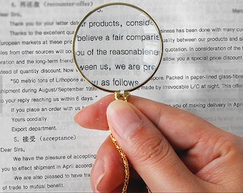 1pc 42mm Magnifying Glass Necklace Pendant