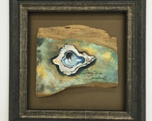 Framed Original Oyster Painting on Wood