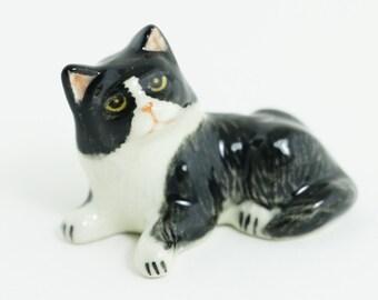 Miniature Animal Figurine -Cat Miniature Black And White Cat  - Ceramic Hand Painted