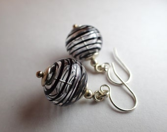 Glass and sterling silver earrings -