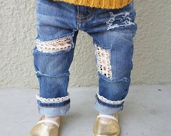Hello Dolly Jeans, Distressed Lace Jeans // Boho Birthday Outfit // Baby Girl Birthday // Boho Baby // Baby, Toddler Gift // Hippie Baby