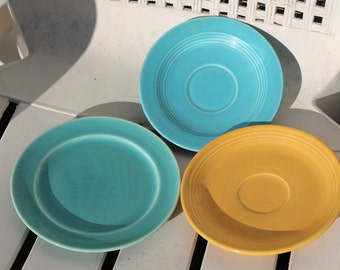Three Small Vintage Fiestaware Vintage Harlequin Unmarked Vintage Plates and Saucers