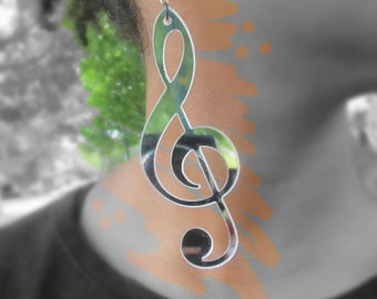 Mirror Music Note earring, Mirror Dangle earrings, Dat Jam clothing