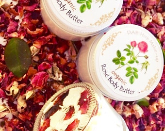 New! Organic  Rose Body Butter, Vegan, Wax-free,  All- Natural Fragrance , Body Moisturizer