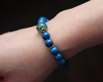 Semi precious stone bracelet, blue fossil stones and agate