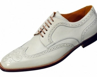 MEN'S WHITE Wing Tip Brogues Leather Shoes, Mens Shoes