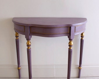 Juliette - Beautiful Hand Painted Antique Vintage French Rococo Purple Demi Lune Console Table