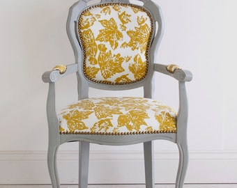 Fleur - Grey Painted Floral Reupholstered French Baroque Antique Carver Chair