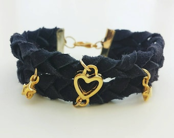 Dark Blue Suede braided bracelet