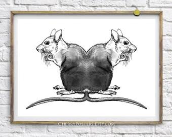 Black Rats - Watercolor Print - Home decor wall art, rats painting, rats watercolor, rats print, rats poster, mouse illustration, black art.