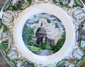 vintage Souvenir Plate 50's Washington DC hand painted 11 inch