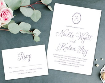 Simple Elegant Wedding Invitation, Cursive Wedding Invitation, Pretty Calligraphy Invitation
