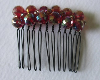 Red AB Faceted Bead Hair comb wedding prom party