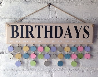 Family birthday board, Birthday organiser, wooden calendar,complete with 30 multicoloured circles. Organised Family. Great gift for Mum