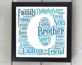 Word Art Letter Print or Canvas