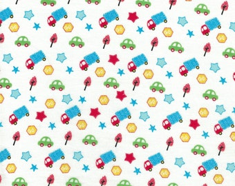 Small Car & Truck Toss on White Background- Urban Zoo Collection by Galaxy Fabrics - 100% Cotton Fabric