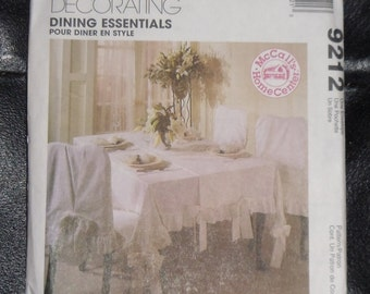 McCall's Home Decorating Pattern #9212 Dining Essentials