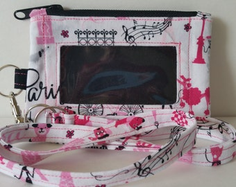 Paris Print Zippered ID/Phone Pouch with Lanyard