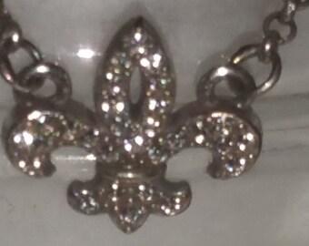 Vintage Brighton Sterling Silver and Crystal Rhinestone Fluer De Lis Bracelet