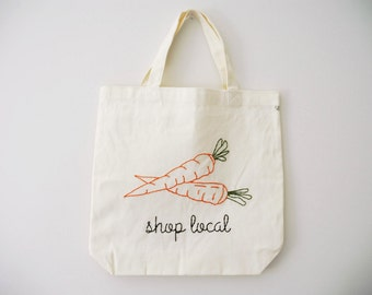 Shop Local Quote with Vegetable Outline Canvas Tote Bag
