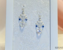Crystal Heart Deco Earrings - Blue x silver - Cute Elegant Gothic and lolita Chandelier long earrings Clip ons available