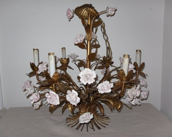 Vintage Gold Gilt Chandelier with Porcelain Roses