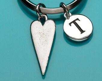 Heart Keychain, Elongated Heart Key Chain, Heart Ring, Romantic Gift, Personalized Keychain, Custom Keychain, Charm Keychain, 694