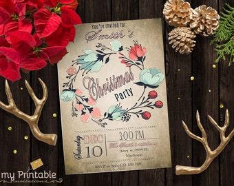 Christmas Party Invitations Printable / Digital Invitate / DIY Christmas Party