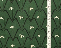 Snowdrops - Fabric- Cotton- Half Panama - Pattern - Patterned Fabric - floral - vintage- Snow drops- flora- green- flowers - Charlotte Mudd